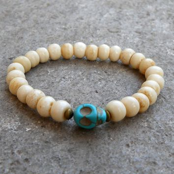 Bone Prayer Beads and Skull Guru Bead Bracelet