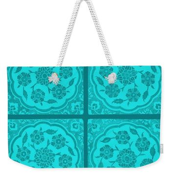 An Ottoman Iznik Style Floral Design Pottery Polychrome, By Adam Asar, No 14i - Weekender Tote Bag