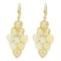 Gold Layered 080.001 Chandelier Earring, Heart Design, Polished Finish, Golden Tone