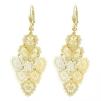 Gold Layered 080.001 Chandelier Earring, Heart Design, Polished Finish, Gold Tone