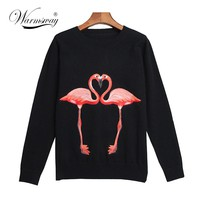 Autumn Winter Luxury Runway Fashion Knitted Sweaters Celebrity Flamingo Jersey Pullovers Jumper
