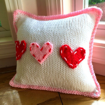 Heart Pillow - baby girl pillow - girl nursery decor - red and pink pillow - small pillow - girl knitted pillow