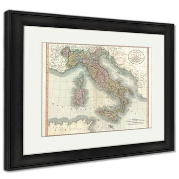 Framed Print, Italy Old Map