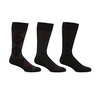 Cole Haan Classic Argyle Mid-Calf Dress Socks 3-Pack