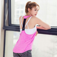 Sexy Spaghetti Strap Gym Vest Permeable Jogging T-shirts [10392690502]