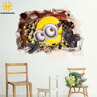 3D Pegatinas De Pared Infantiles Despicable Me 2 Minions Baby Wall Stickers For Kids Rooms Cartoon Muurstickers Home Decor