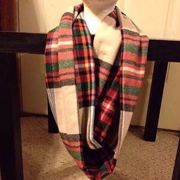 Women's Flannel-Plaid-Infinify Scarf-Christmas-Scarf-Striped Infinity Scarf-Winter Scarf-Fall Scarf-Holiday-Handmade Scarf