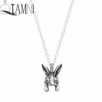 QIAMNI Punk 3D Lovely Rabbit Cat Dog Elephant Wolf Frog Bulldog Animal Necklaces Pendants Birthday Gift Pet Lover Women Girls