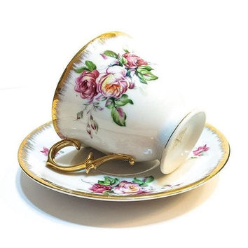 Shabby Chic Tea Cup, Hand Painted Tea Cup and Saucer, Daubed Gold Rims, Pink & Yellow Roses, Vintage