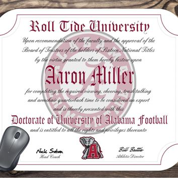 Alabama Crimson Tide Ultimate Football Fan Personalized Diploma - Mouse Pad - Perfect Gift