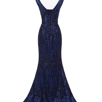 Sexy Sequined Evening Dresses Long V-neck Mermaid Lace Applique Dark Blue Formal Party Prom Gowns