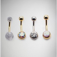 Rose and Clear CZ Belly Ring 4 Pack - 14 Gauge - Spencer's