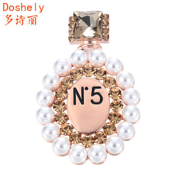 Goddess Jewelry accessories Gold plated Czech diamond Imitation pearl Perfume bottle Breastpin Corsage Hijab Lapel Brooches pins