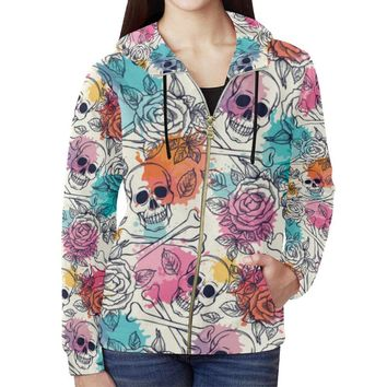 Skull & Roses Design 2 Women's All Over Print Full Zip Hoodie