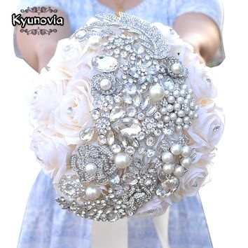 Kyunovia Natural Touch Roses Brooch Jewel Bride Bouquet Wedding Flowers Whimsical Brooch Bouquet Bridal Wedding Bouquet A0009