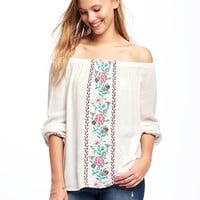 Embroidered Off-the-Shoulder Swing Top for Women | Old Navy