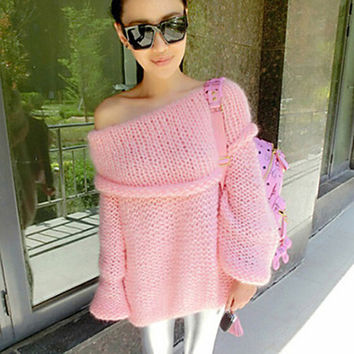 Women's Sweet Off Shoulder Solid Color Pullover