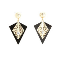 HAMMERED ART DECO DROP EARRINGS