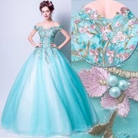 Aqua Exotic Floral Embroidery Beaded Ball Gown Off Shoulder Lace-up  Quinceanera Dress