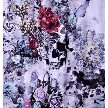 "72"" x 72"" Skull Rose Waterproof Shower Curtain"