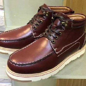 DCCKUN7 Ready Stock Ugg Short Boots Beckham Leather Red Brown From Artemisoutlet