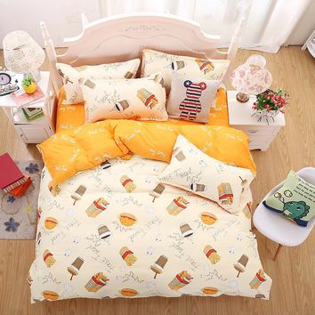Single bed sheets or queen king size bedclothes 4 pcs Bedding set Cotton bed sheet +duvet cover + pillowcase bed linen set