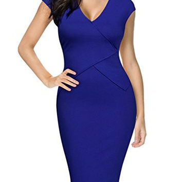 Miusol Women's Official V Neck Crossover Design Cap Sleeve Fitted Pencil Dress