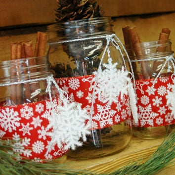 Red with White Snowflake Christmas set of 3 Mason Jars Christmas decor Christmas table decor