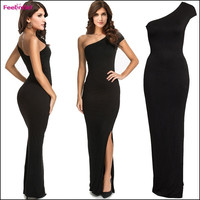 FeelinGirl Asymmetrical One-Shoulder Party Dress Sexy Split Long Ladies Ankle-Length Black One-piece Dresses = 1697113284