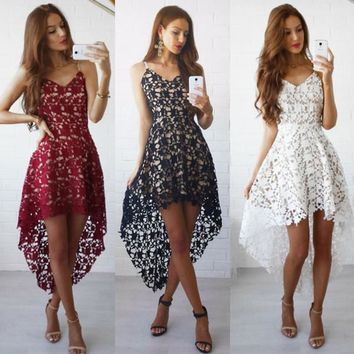 Fashion Summer Boho Women Sexy Dresses Embroidery Backless Lace Beach Long Dress Casual Clothing ZL3118