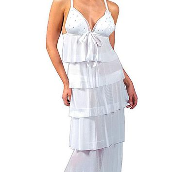 Sheer White Tiered Long Nightgown w/Rhinestones (Small-Large)