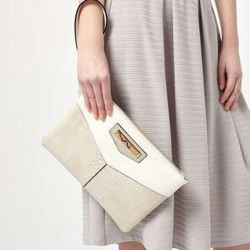 Grey Zip Top Clutch Bag - Miss Selfridge