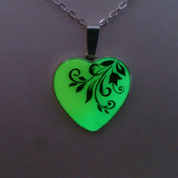 Green and Yellow  Glowing Necklace, Fluorescent Glowing Jewelry,  Glow in the Dark Heart, Gifts for Her, Hand painted, Gift ideas OOAK