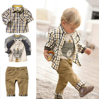 Children Clothes 2014New spring models children's boys plaid shirt+Long-sleeved T-shirt+Casual trousers 3 pc set. BaBy Sets baby Clothing.