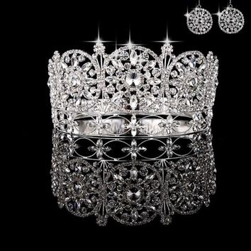 Luxury Large high quality full circle crown pageant Miss World rhinestone full tiara