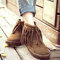 New Women Brown Round Toe Flat Tassel Fashion Ankle Boots
