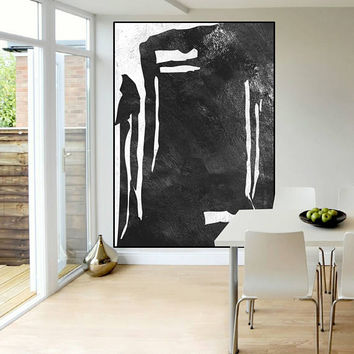 Abstract canvas art original painting black and white Acrylic painting, extra large wall art, art for big wall, modern Contemporary Painting