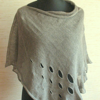 Linen Shawl Cape Clothing Natural Gray Clothing For Women