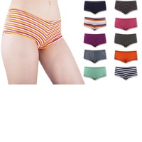 Sexy Women's 12 Pack Cotton Stretch Boyshort Panties