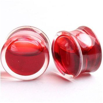 ac ICIKO2Q 1 Pair Hot Sell Blood Red Liquid Filled Ear Plugs Flesh Tunnels Gauge Saddle Ear Reamer Expander For Women Creative Body Jewelry