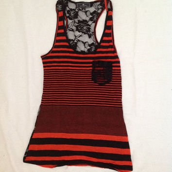Black and Orange striped tank top with floral black lace back