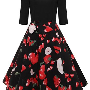 B| Chicloth Mid Calf Ball Gown O Neck Party Dress Strawberry Printed Vintage Dress