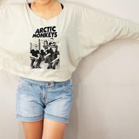 Arctic Monkeys Shirts Indie Rock Shirts Bat Sleeve Shirts Crop Shirts Long Sleeve Shirts Oversized Sweatshirt Women Shirts - FREE SIZE