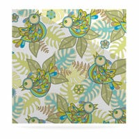 "Julia Grifol ""Summer Birds"" Green Lime Luxe Square Panel"