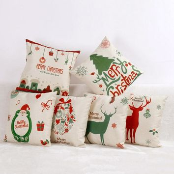 Hyha Christmas Pillow Covers Christmas Present Christmas Pillow Deer Cushion Cover Merry Christmas Decorations for Home Cojines