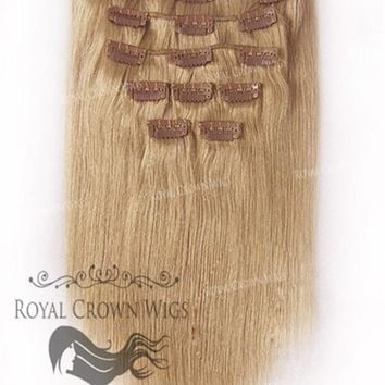 Brazilian 9 Piece Straight Human Hair Weft Clip-In Extensions in #14