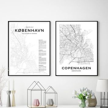 Copenhagen City Map Posters Modern Canvas Painting Nordic Prints Wall Art Pictures For Danish Living Room Home Decoration