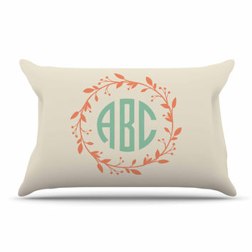 "Kess Original ""Classic Cream Wreath Monogram"" Green Typography Pillow Case"
