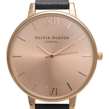 Olivia Burton 'Big Dial' Leather Strap Watch, 38mm | Nordstrom