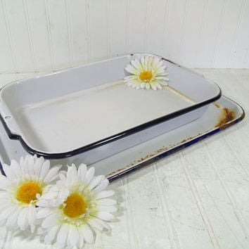 Primitive EnamelWare Rectangular Pan & Tray - Vintage Rustic Porcelain on Metal Cake Pan and Serving Platter Pair - Shabby FarmHouse 2 Piece